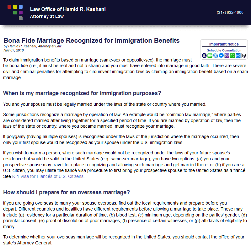 Bona Fide Marriage Recognized for Immigration Benefits
