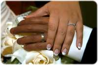 Hands of husband and wife with wedding rings